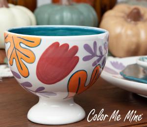 Rancho Bernardo Floral Pedestal Bowl